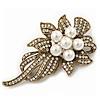 Vintage Bridal Swarovski Crystal Faux Pearl Floral Brooch In Burn Gold Tone - 7cm Length
