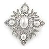 Bridal Swarovski Crystal Imitation Pearl Brooch In Rhodium Plating - 6cm Length
