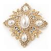 Bridal Swarovski Crystal Imitation Pearl Brooch In Gold Plating - 6cm Length