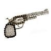 Rhodium Plated Diamante 'Revolver' Brooch - 5cm Width