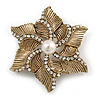 Vintage Textured Diamante, Simulated Pearl 'Flower' Brooch In Burn Gold Tone - 5cm Diameter