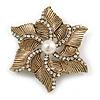Vintage Textured Diamante, Simulated Pearl 'Flower' Brooch In Burn Gold Tone - 5cm Diameter