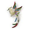 Multicoloured Enamel Diamante 'Bird' Brooch In Rhodium Plating - 6.5cm Length