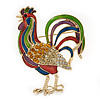 Multicoloured Enamel Diamante 'Rooster' Brooch In Gold Plating - 6cm Length