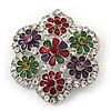 Multicoloured Enamel Diamante 'Flower' Brooch In Rhodium Plating - 4.5cm Diameter