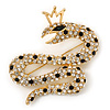 Queen Snake Black/Clear Diamante Brooch In Gold Plating - 5cm Width