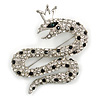 Queen Snake Black/Clear Diamante Brooch In Rhodium Plating - 5cm Width