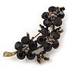 Crystal Floral Brooch (Antique Gold & Black) - 5.5cm Length