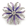 Pale Lavender/ Violet Enamel Diamante 'Flower' Brooch In Silver Plating - 4.5cm Diameter