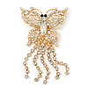 Gold Plated Clear Swarovski Crystal Butterfly With Dangling Tail Brooch - 8.5cm Length