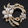 White Simulated Glass Pearl/ Clear Crystal Wreath Brooch In Gold Plating - 5cm Diameter