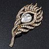Vintage Swarovski Crystal 'Peacock Feather' Brooch In Burn Gold - 8cm Length