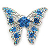 Dazzling Sky Blue Swarovski Crystal Butterfly Brooch In Rhodium Plating - 6cm Length