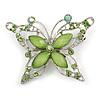 Pale Green Diamante Butterfly Brooch In Rhodium Plating - 55mm Across