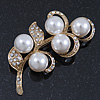 Vintage Diamante, Simulated Pearl Floral Brooch In Gold Plating - 6.5cm Length