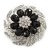 Dimensional Clear/Jet Black Crystal Corsage Brooch In Rhodium Plating - 5cm Diameter