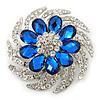 Dimensional Clear/Royal Blue Crystal Corsage Brooch In Rhodium Plating - 5cm Diameter