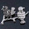 Rhodium Plated Diamante 'Birds On The Branch' Brooch - 4.5cm Width