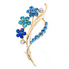 Sky Blue/ Azure/ Sapphire Blue Coloured Crystal 'Bunch Of Flowers' Brooch In Gold Plating - 62mm Length