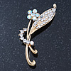 Classic AB/ Clear Daisy Flower Brooch In Gold Plating - 65mm Length