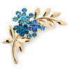 Blue Diamante Floral Brooch In Gold Plating - 50mm Length