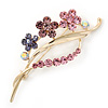 Pink/ Purple/ Violet Crystal 'Bunch Of Flowers' Brooch In Gold Plating - 62mm Length