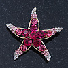 Fuchsia/Pink/ Clear Crystal 'Starfish' Brooch In Gold Plating - 48mm Width