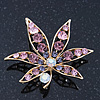 Purple/ Pink/ Clear 'Leaf' Brooch In Gold Plating - 52mm Length