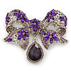 Luxurious CZ Purple/ Violet 'Bow' Charm Brooch In Rhodium Plated Metal - 70mm Width