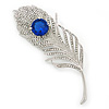 Large Swarovski Crystal Peacock 'Feather' Brooch In Rhodium Plating (Clear/ Sapphire Blue Colour) - 11cm Length