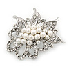 Bridal White Simulated Pearl Cluster, Clear Crystal Brooch In Silver Plated Metal - 50mm Length