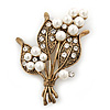 White Simulated Pearl, Clear Crystal Bouquet Brooch In Burn Gold - 5cm Length