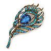 Vintage Blue/Teal Swarovski Crystal 'Peacock Feather' Brooch In Burn Gold - 8cm Length