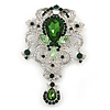 Statement Emerald Green/ Clear CZ Crystal Charm Brooch In Rhodium Plating - 11cm Length