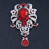 Statement Clear/ Ruby Red Coloured CZ Crystal Charm Brooch In Rhodium Plating - 11cm Length