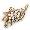 White Simulated Pearl, Clear Crystal Floral Brooch In Burn Gold Metal - 67mm Length