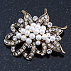 Vintage Style White Simulated Pearl Cluster, Clear Crystal Brooch In Burn Gold Metal - 50mm Length