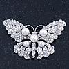 Simulated Pearl, Swarovski Crystal 'Butterfly' Brooch In Rhodium Plated Metal - 65mm Width