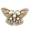 Vintage Simulated Pearl, Swarovski Crystal 'Butterfly' Brooch In Antique Gold Metal - 65mm Width