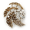 Vintage Diamante 'Whirlwind' Brooch In Burn Gold - 7cm Width