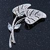 Anniversary AB Swarovski Crystal 'Double Leaf' Brooch In Rhodium Plating - 65mm Length