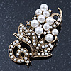 Bridal Vintage White Simulated Glass Pearl Floral Brooch In Burn Gold Metal - 5cm Length