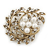 Vintage White Simulated Glass Pearl Crystal Floral Brooch In Burn Gold Metal - 5cm Width