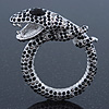 Black/ Hematite Crystal Coiled Snake Brooch In Silver Plating - 65mm Across