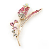 Gold Plated Pink/ Clear Crystal 'Rose' Brooch - 55mm Length