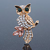 Cute Crystal 'Owl' Brooch In Gold Plating - 40mm Across