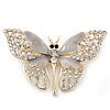 Dazzling Diamante /Light Grey Enamel Butterfly Brooch In Gold Plaiting - 70mm Width