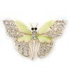 Dazzling Diamante /Pale Green Enamel Butterfly Brooch In Gold Plaiting - 70mm Width