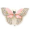 Dazzling Diamante /Pale Pink Enamel Butterfly Brooch In Gold Plaiting - 70mm Width