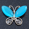 Sky Blue Cat's Eye Stone/ Diamante Butterfly Brooch In Gold Plating - 40mm Width